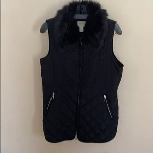 Black lightly quilted vest with removable collar